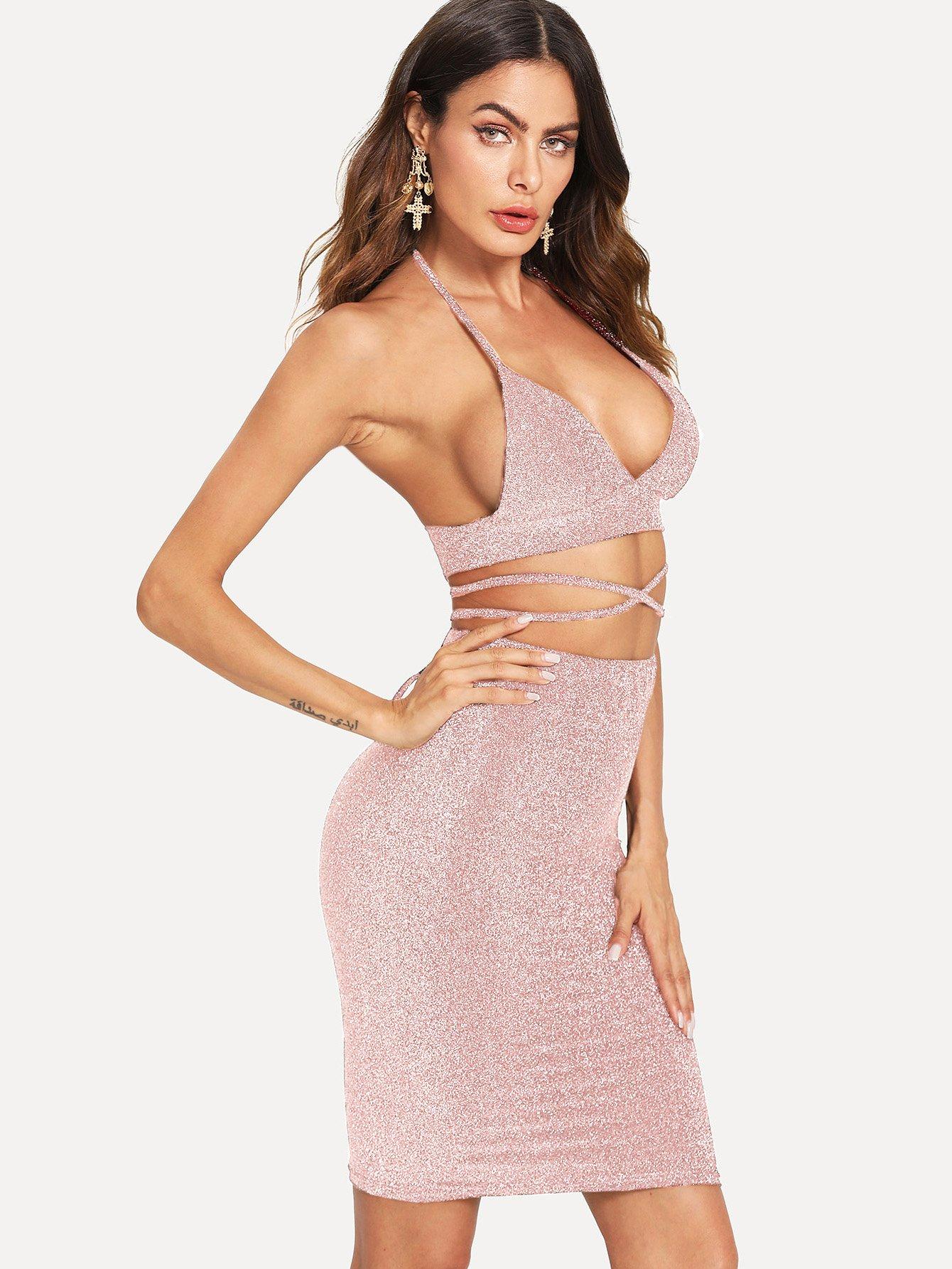 Купить Повседневный стиль Ровный цвет с бантом Розовый Комплект, Andy, SheIn