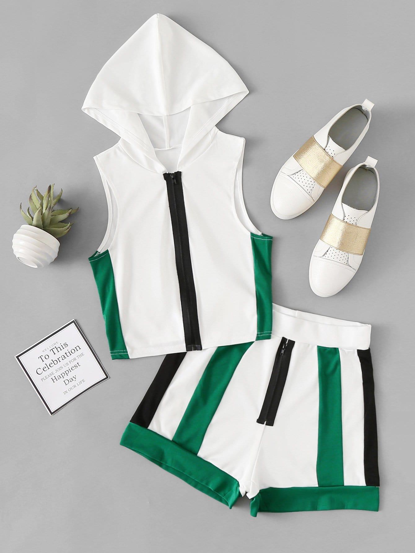 Купить Цветная кусковая блузка с капюшоном и шорты, null, SheIn