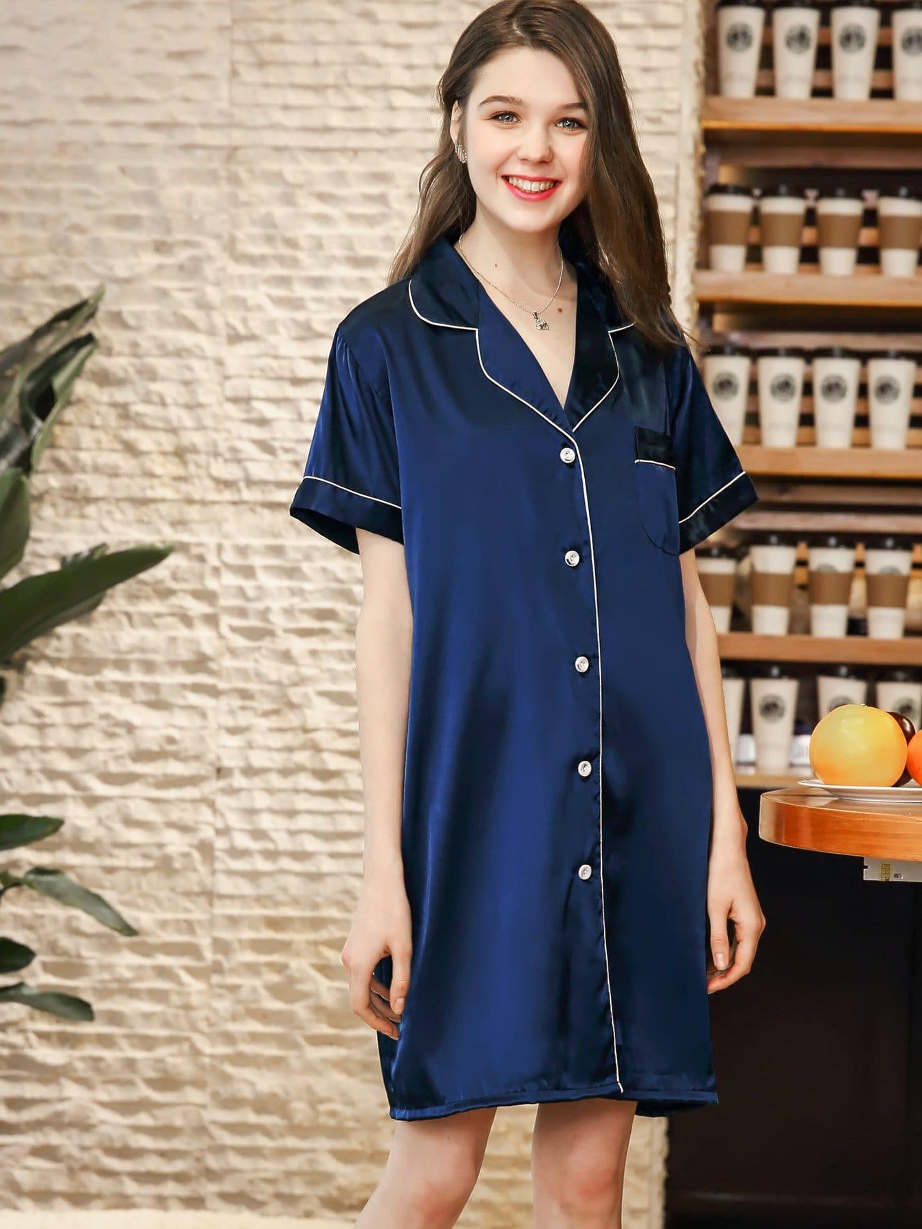 Купить Ночная сорочка со симметрическими Binding и с украшением пуговицы, null, SheIn