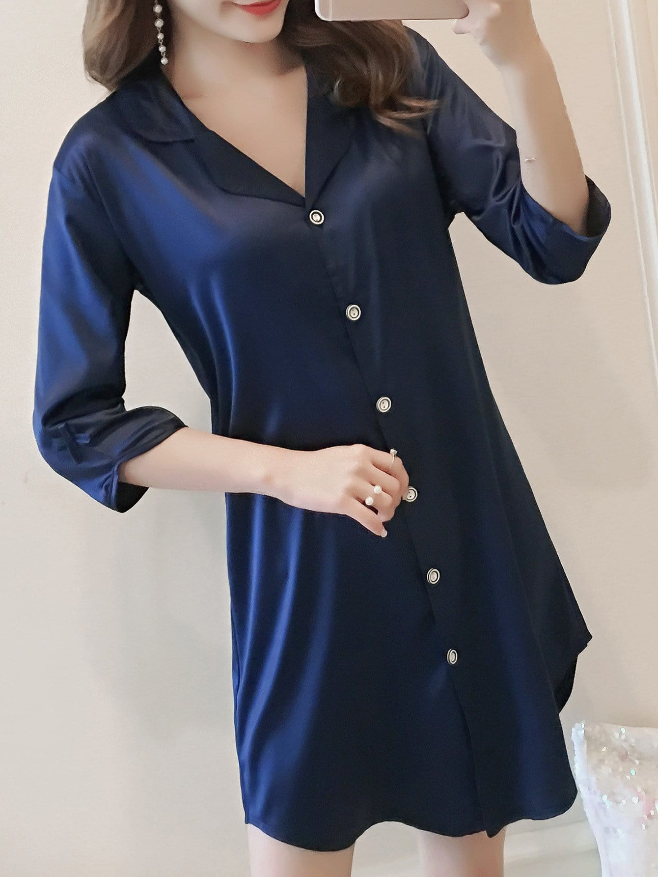 Bow Detail Button Up Night Dress