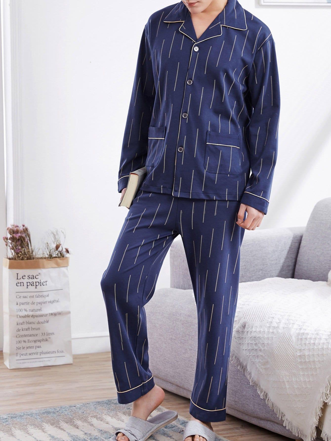 Купить Комплект пижамы и со симмтрическими Binding и с украшением пуговицы для мужчины, null, SheIn