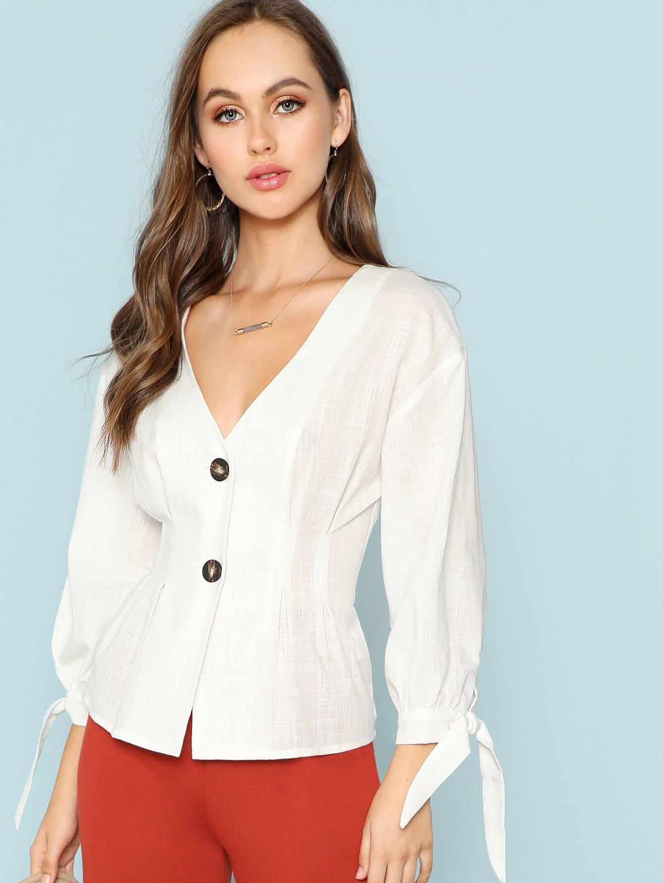 Купить Рубашка с кнопочной манжетой, Lily Easton, SheIn
