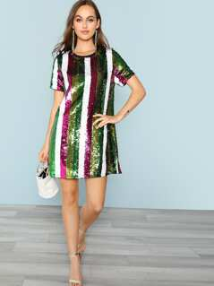 Cut and Sew Sequin Tunic Dress