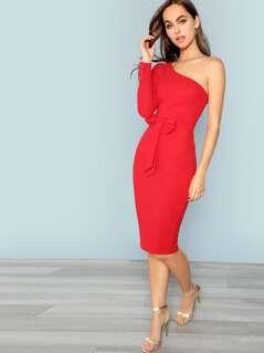 One Shoulder Bow Front Pencil Dress