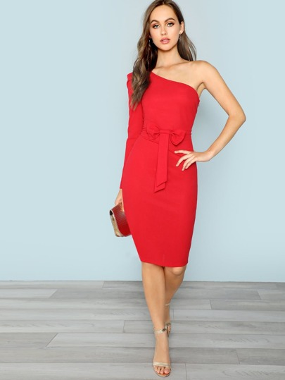 SheIn / One Shoulder Bow Front Pencil Dress
