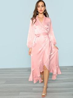 Bishop Sleeve Asymmetrical Ruffle Trim Wrap Dress