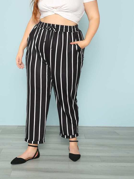 eb371081f92 Plus Vertical Striped Rolled Hem Peg Leg Pants