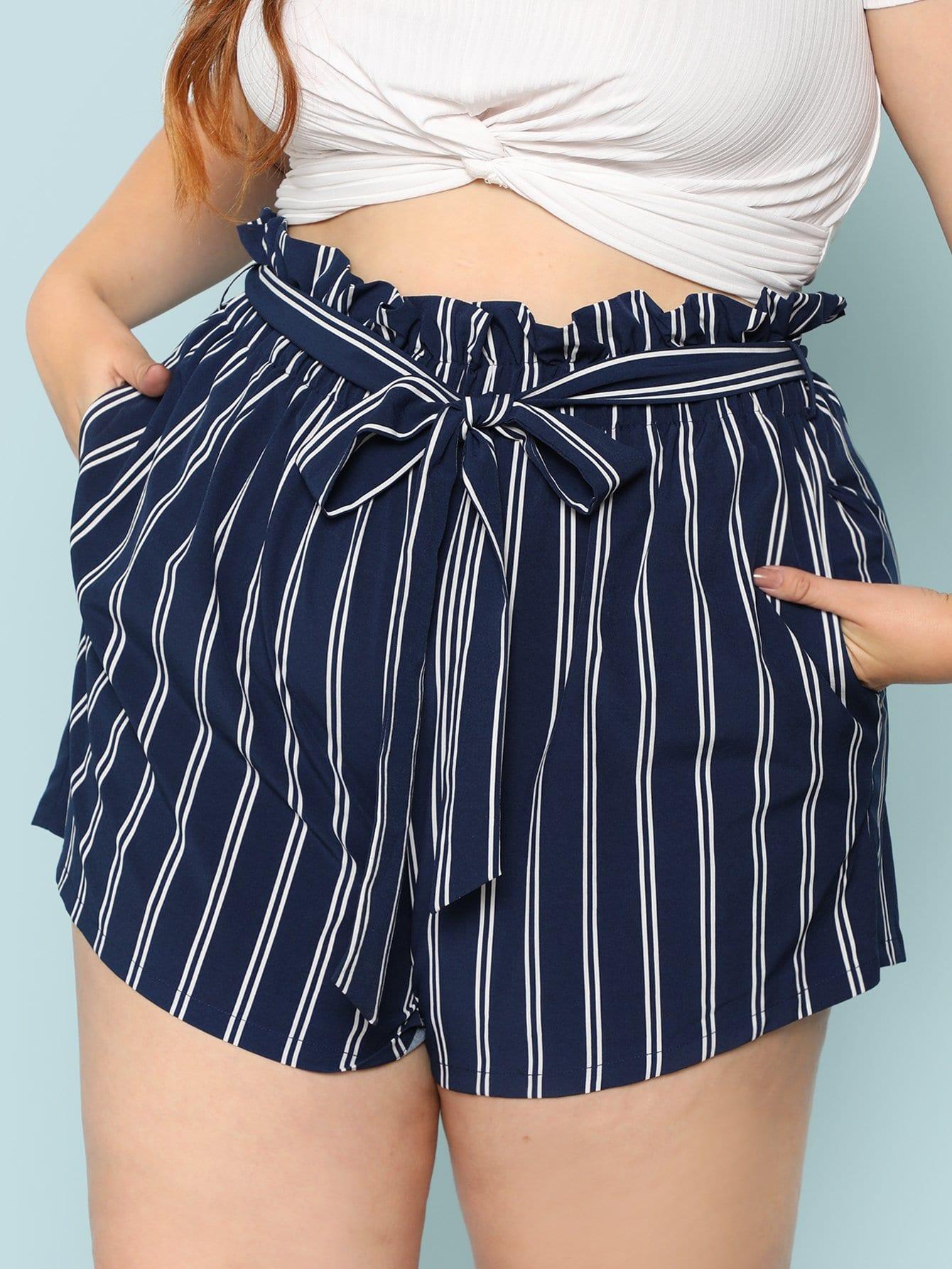 Купить Скошенные карманные полосатые шорты, Bree Kish, SheIn