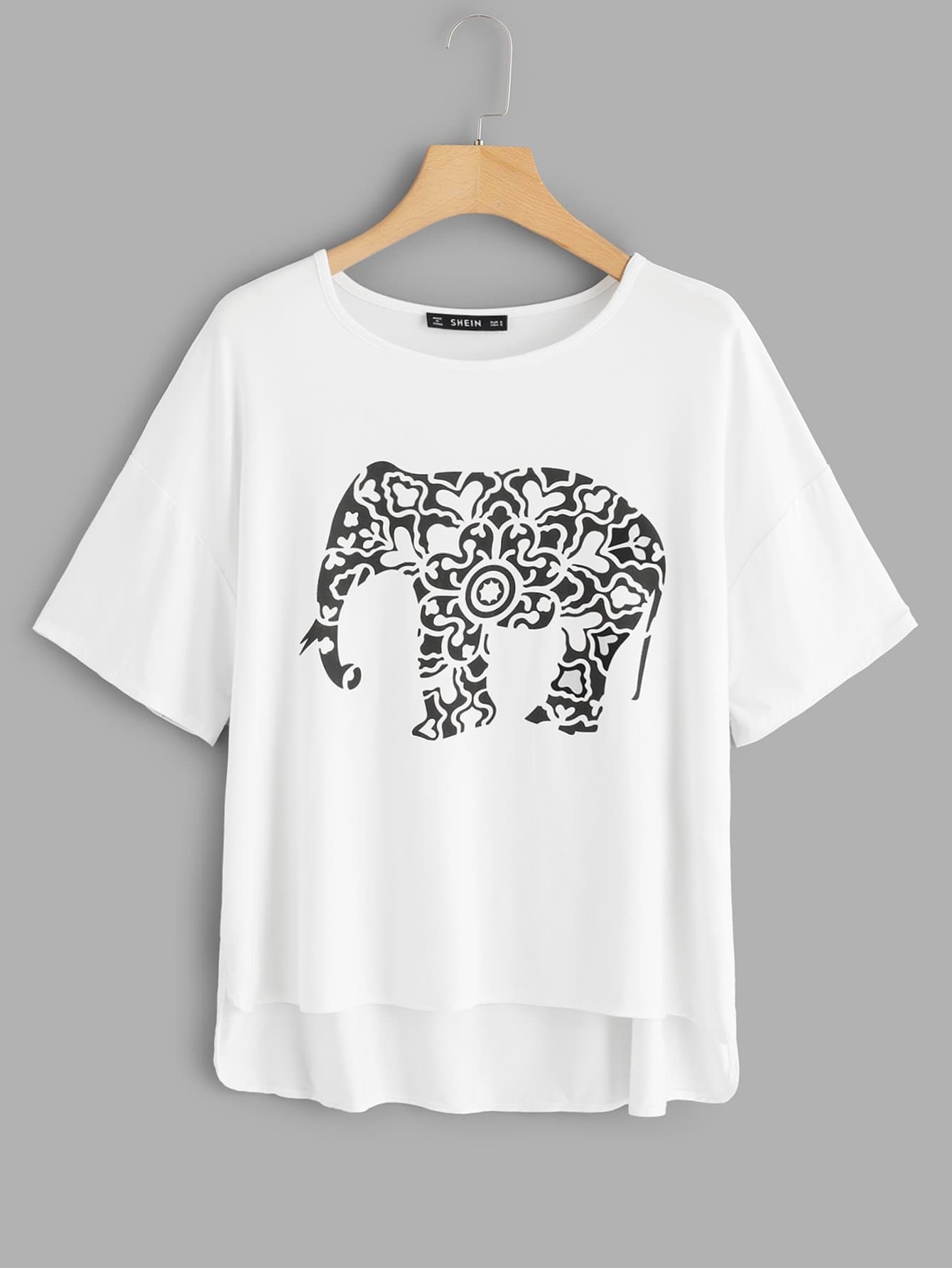Elephants Print High Low Tee brief plus size buttoned horizontal line pineapple embellished shirt for women