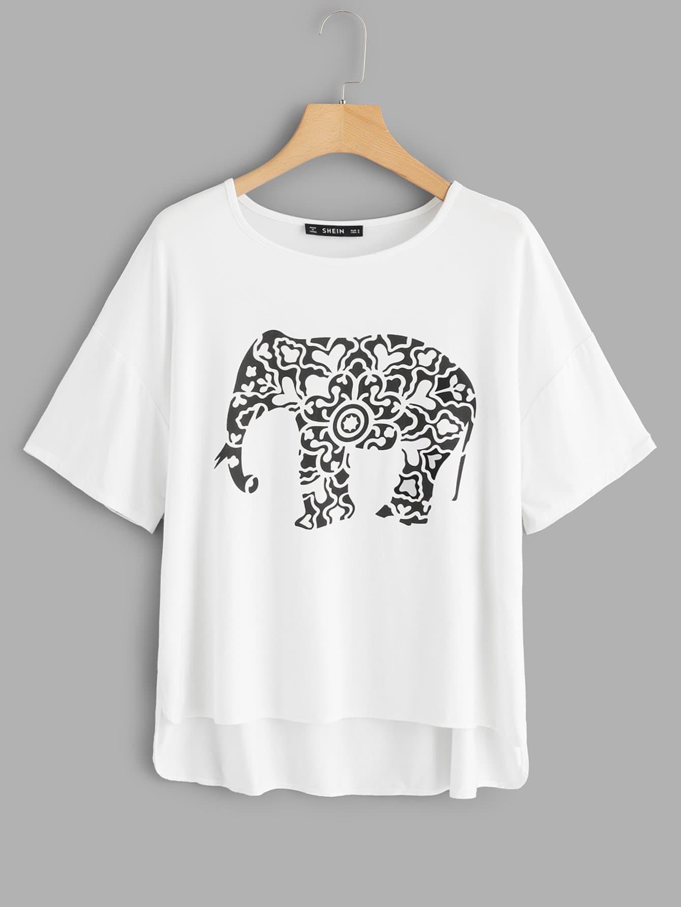 Elephants Print High Low Tee garmin fenix 5 sapphire black black band