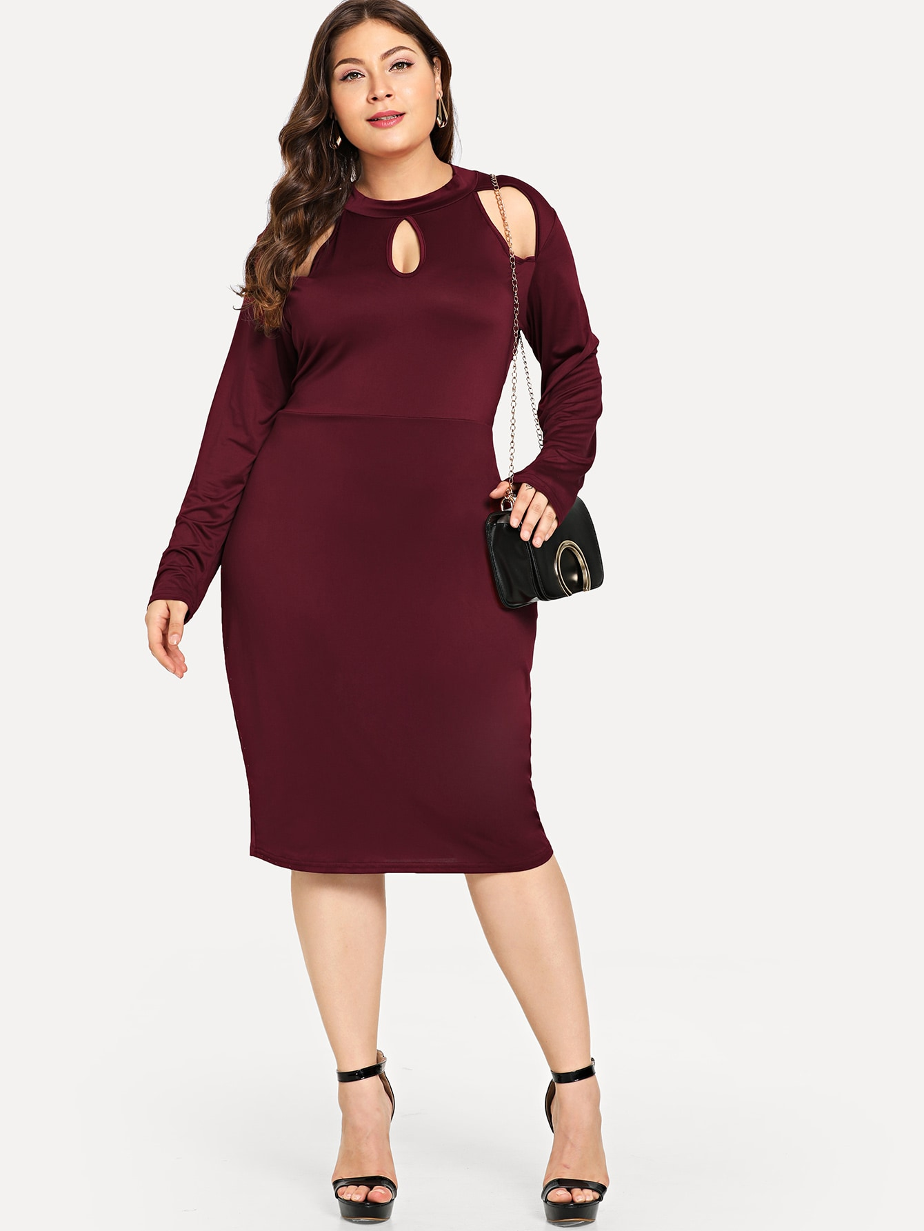 Plus Cut Out Solid Dress