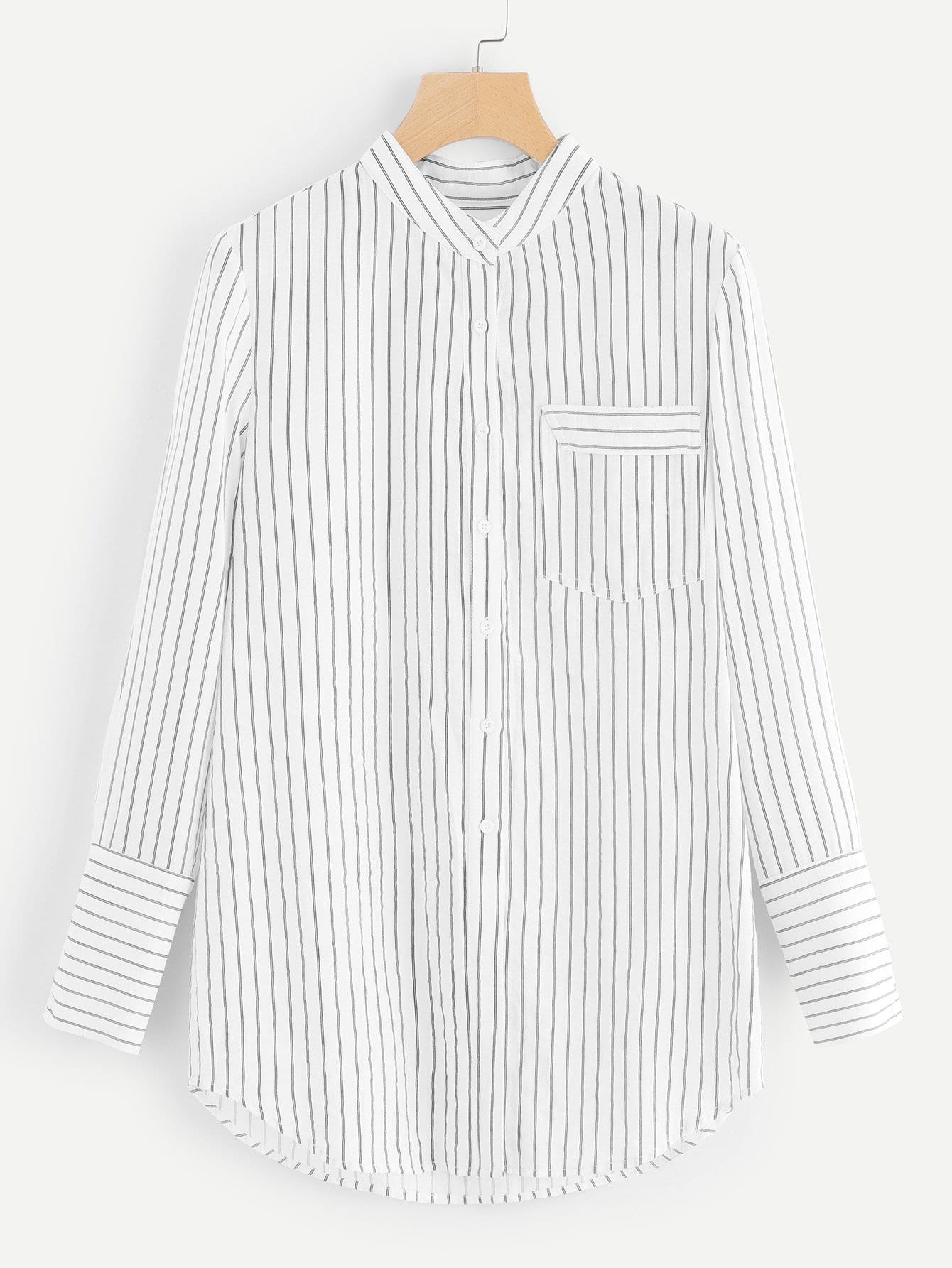 Pocket Patched Striped Shirt pocket patched striped shell shirt