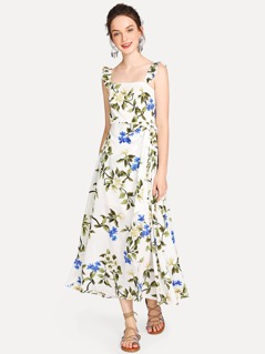 Botanical Print Overlap Dress