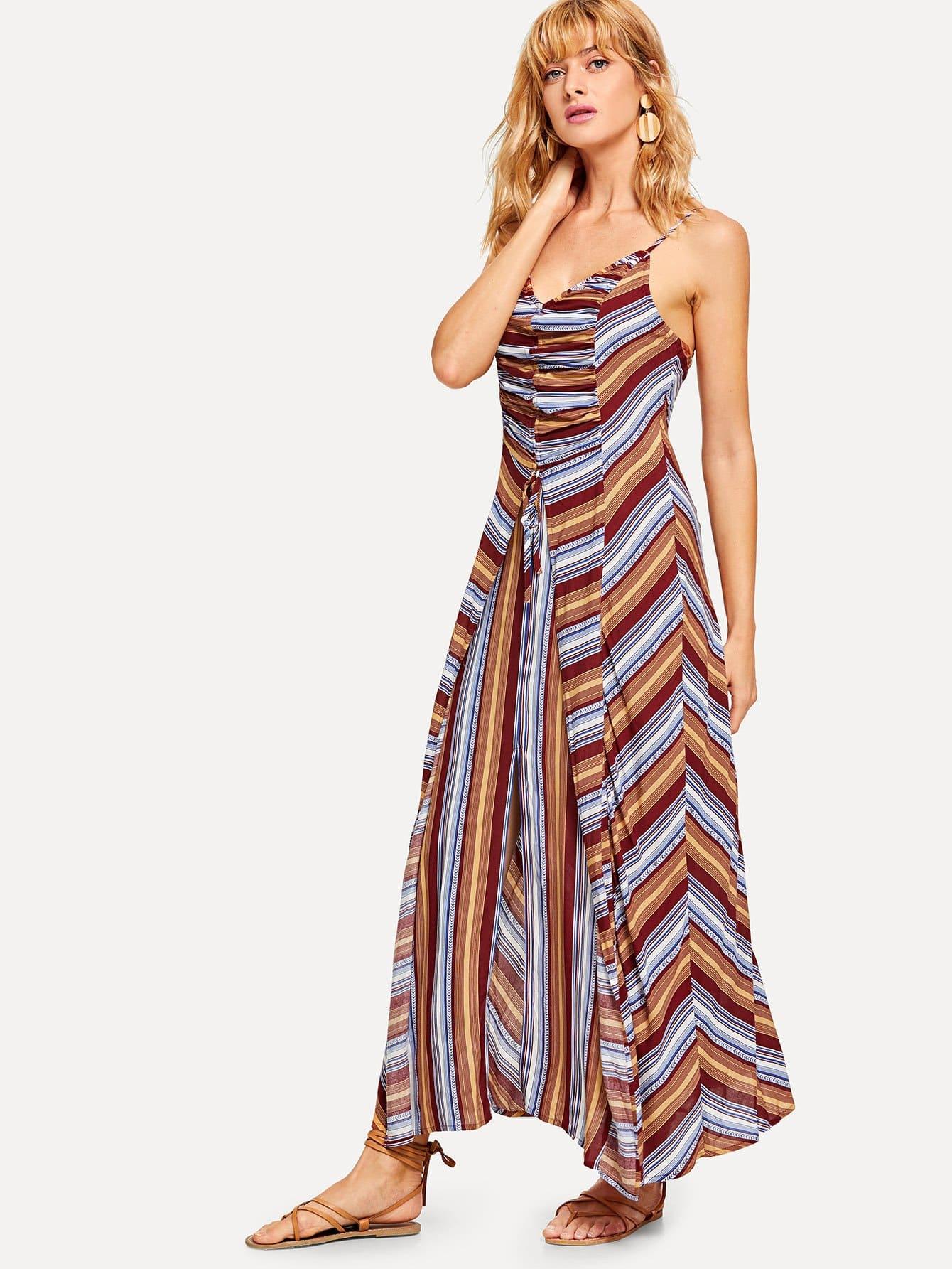 Купить Платье с полосками и шнурком, Masha, SheIn