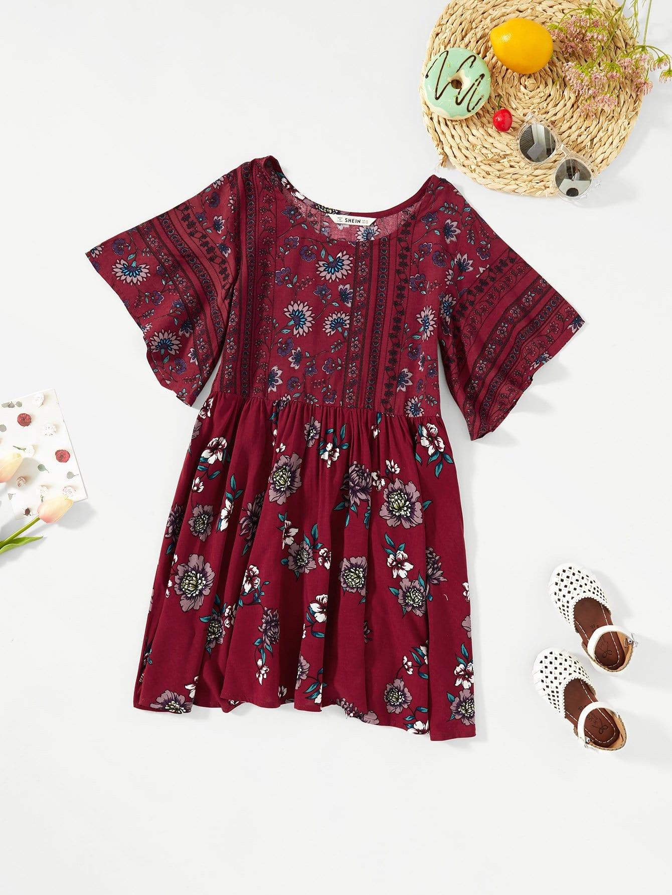Girls Flower Print Pleated Tunic Dress нан антирефлюкс смесь сухая молочная для детей 400г