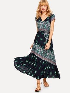 Tribal Print Cap Sleeve Dress