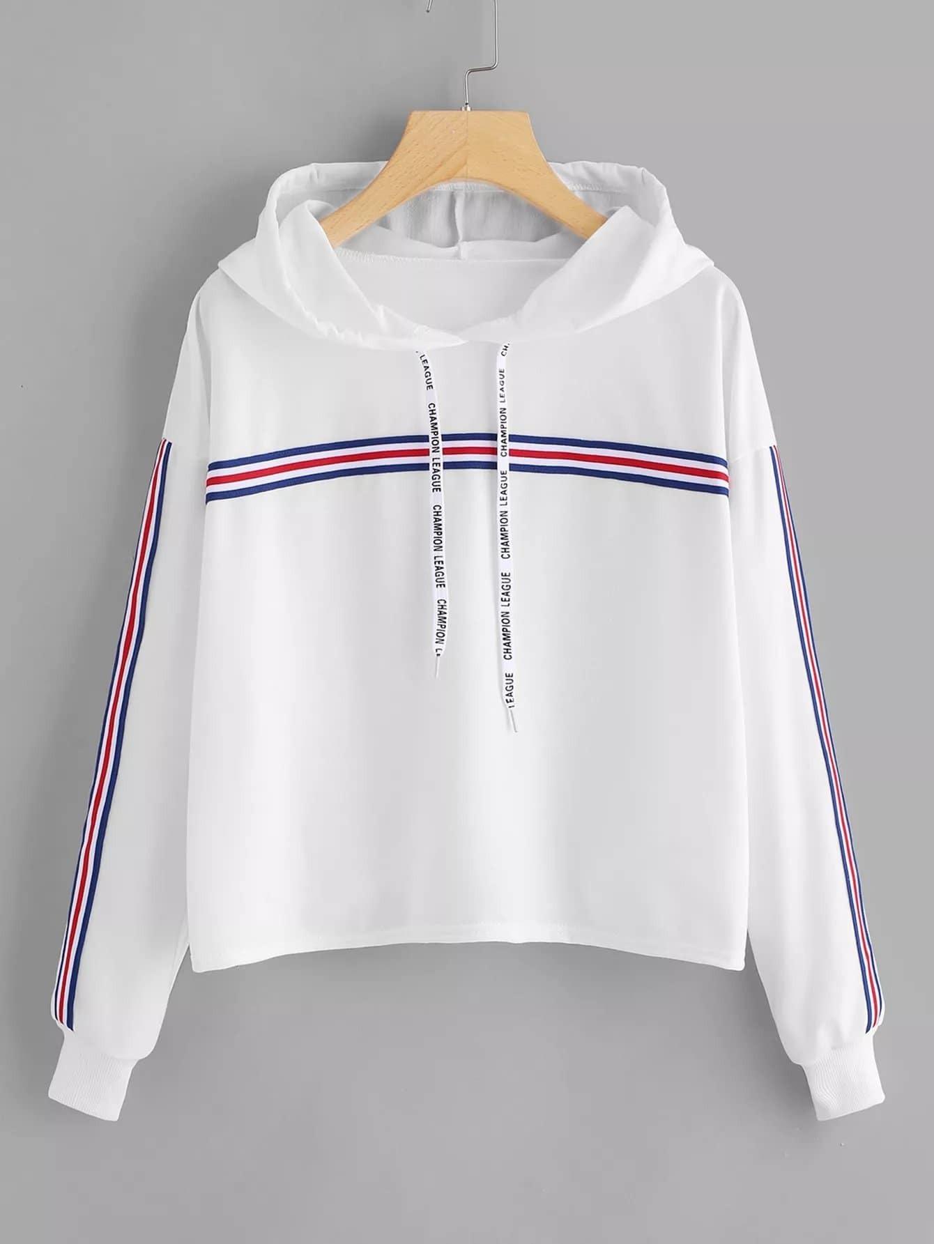 Купить Большая спортивная футболка с капюшоном и с полосатыми лентами по обе стороны, null, SheIn