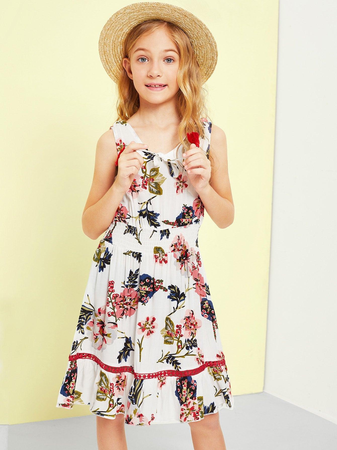 Платье Shell Grise Tie Neck Waist Elastic Flower Print