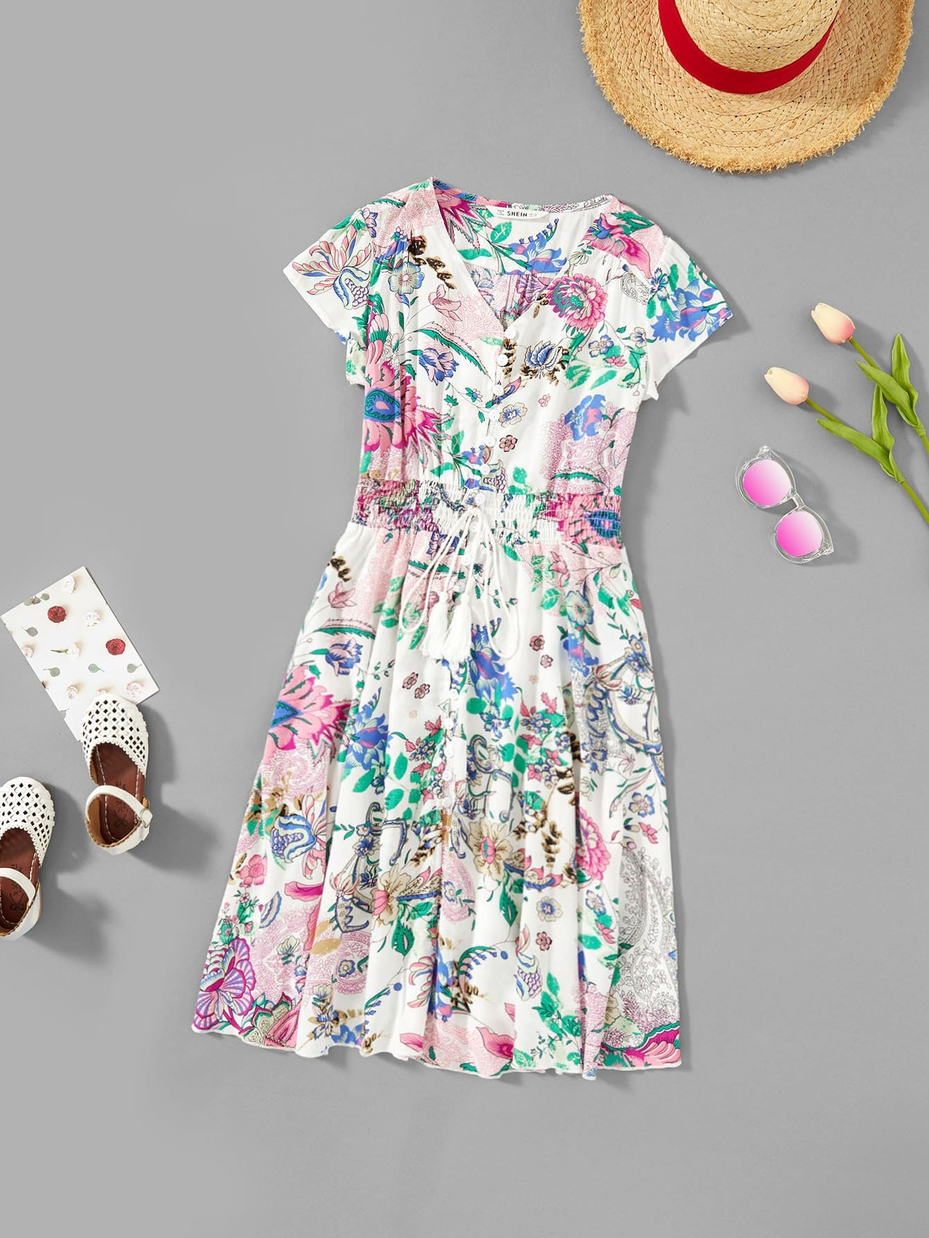 Girls Button Front Waist Elastic Floral Dress snowflake christmas balls sparkling winter print waterproof table cloth