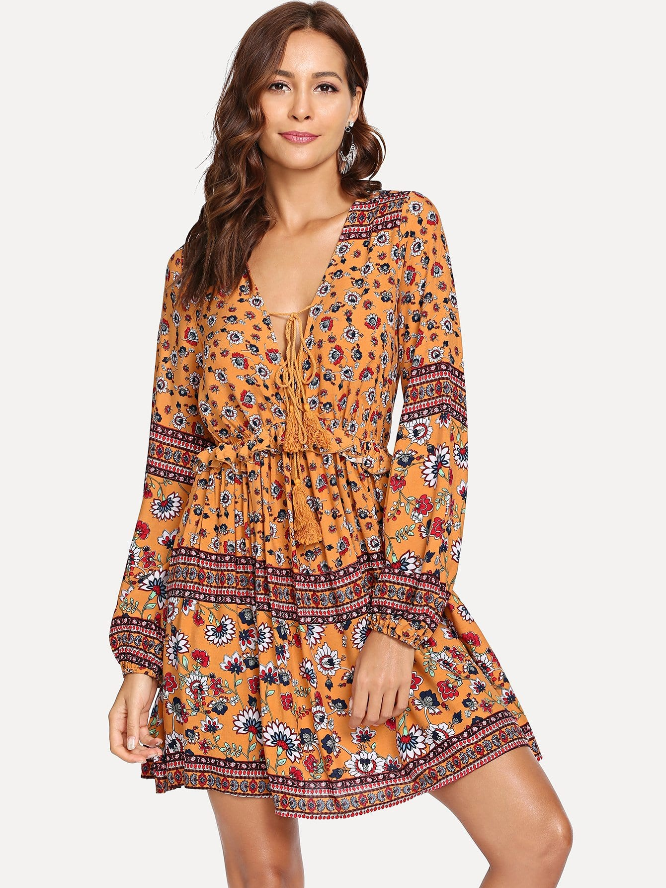 Tassel Tied V Neck Tribal Print Dress