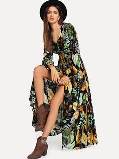 Jungle Leaf Print Button Up Dress