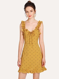 Ruffle Detail Knot Polka Dot Dress