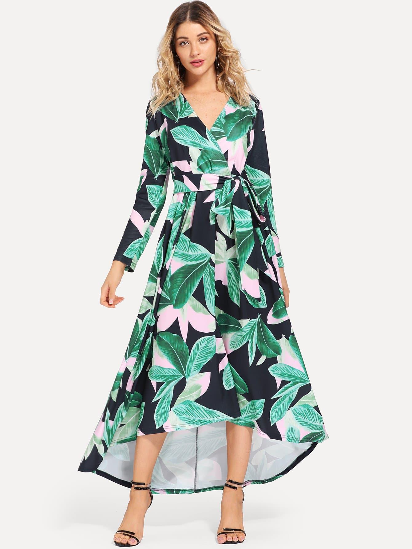 Платье для печатной травы Surplice Neck