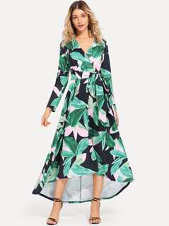 Surplice Neck Tropical Print Dress