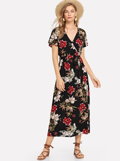 Flutter Sleeve Jungle Print Dress