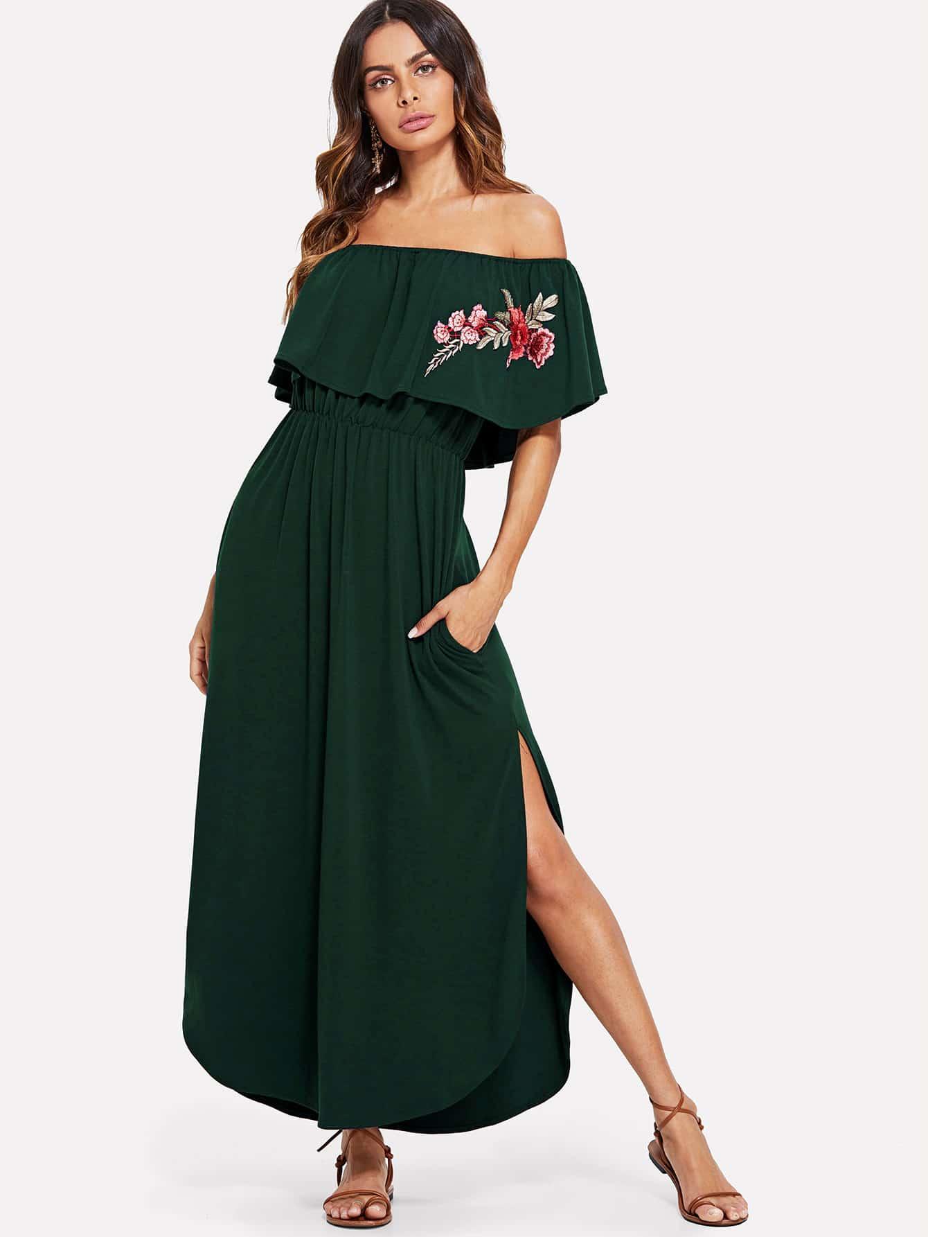 Купить Платье вышивки и воротник со слойной розеткой, Andy, SheIn