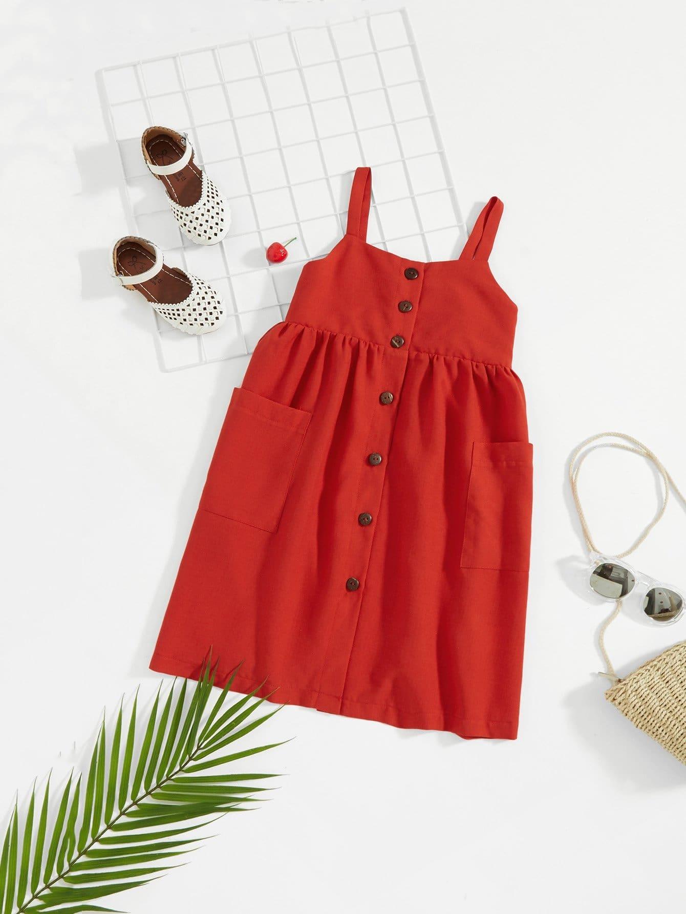 Купить Платье с украшением пуговицы и кармана для девочки, null, SheIn