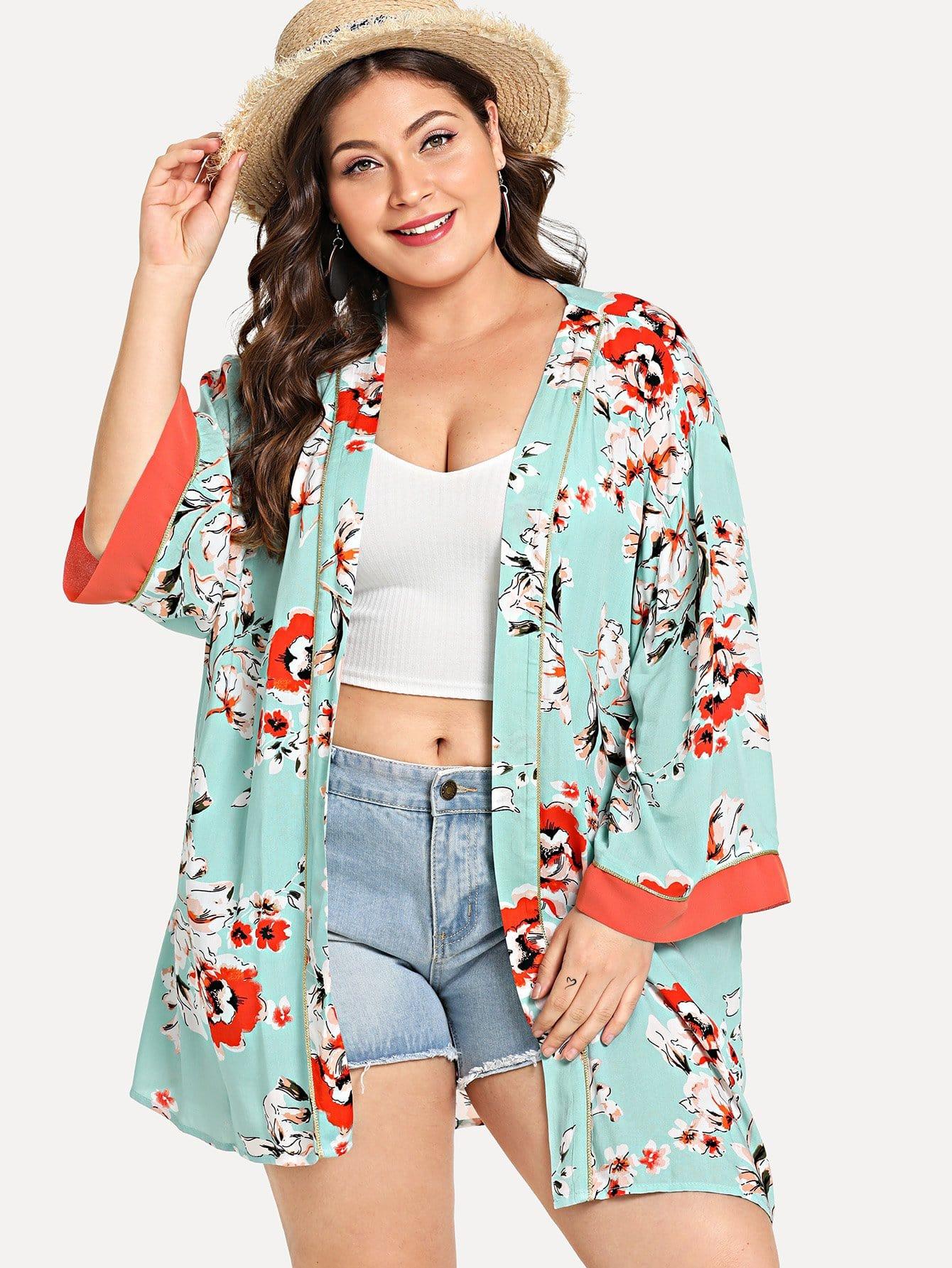 Allover Flower Print Контрастность Trim Longline Kimono