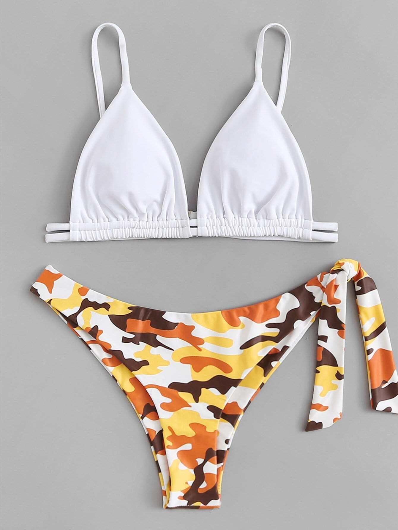 Drawstring Detail Knot Side Camo Bikini Set