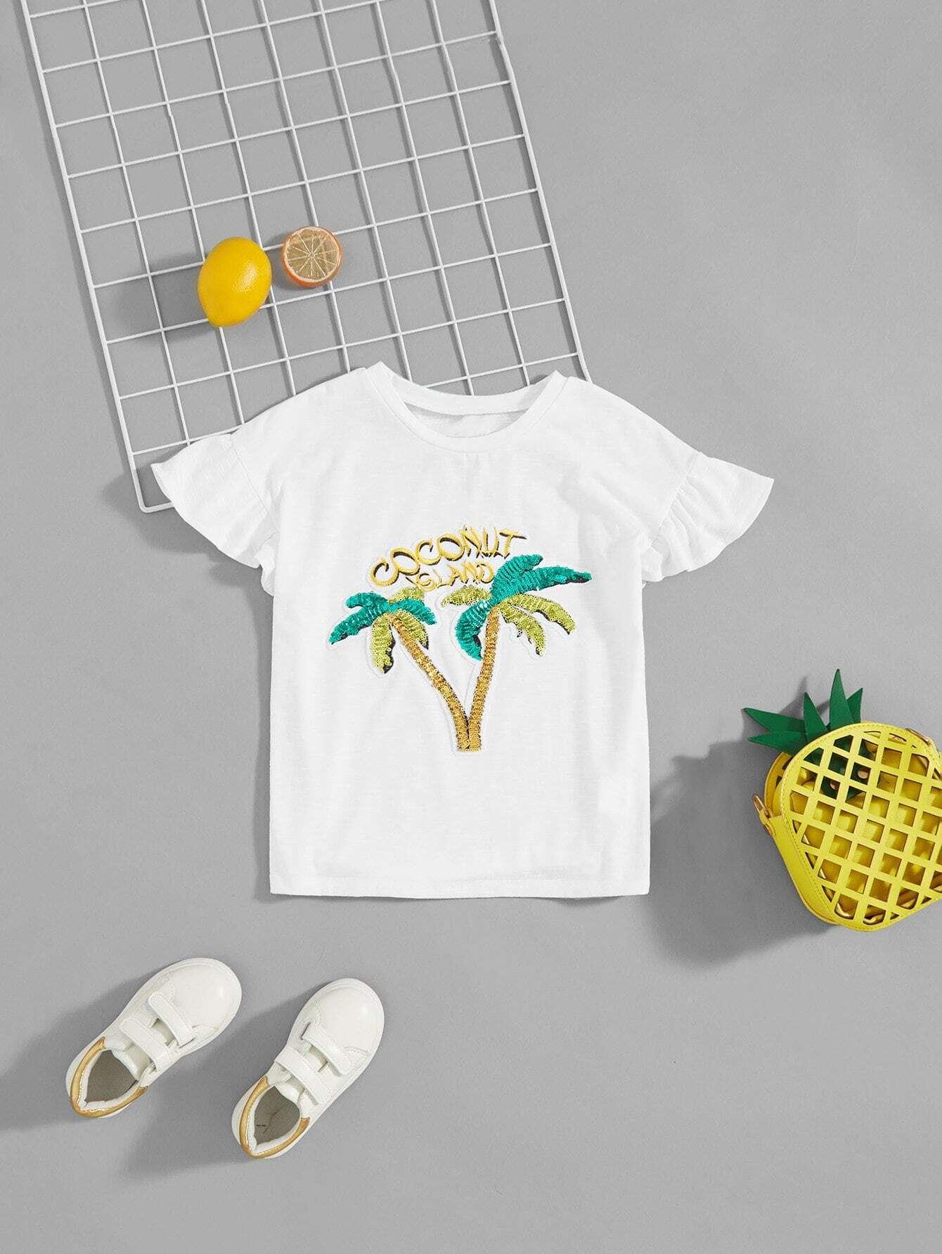 Купить Футболка с рисунком заплаты кокосовой пальмы для девочки, null, SheIn