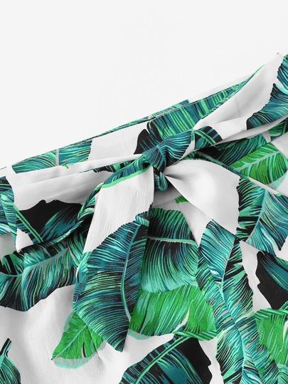 SheIn / Jungle Leaf Print Cami Top and Wide Leg Pants Set