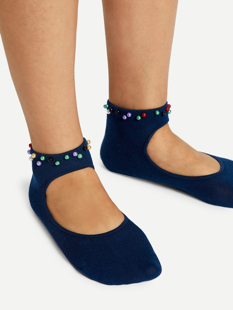 Faux Pearl Decorated Cut Out Socks, Blue
