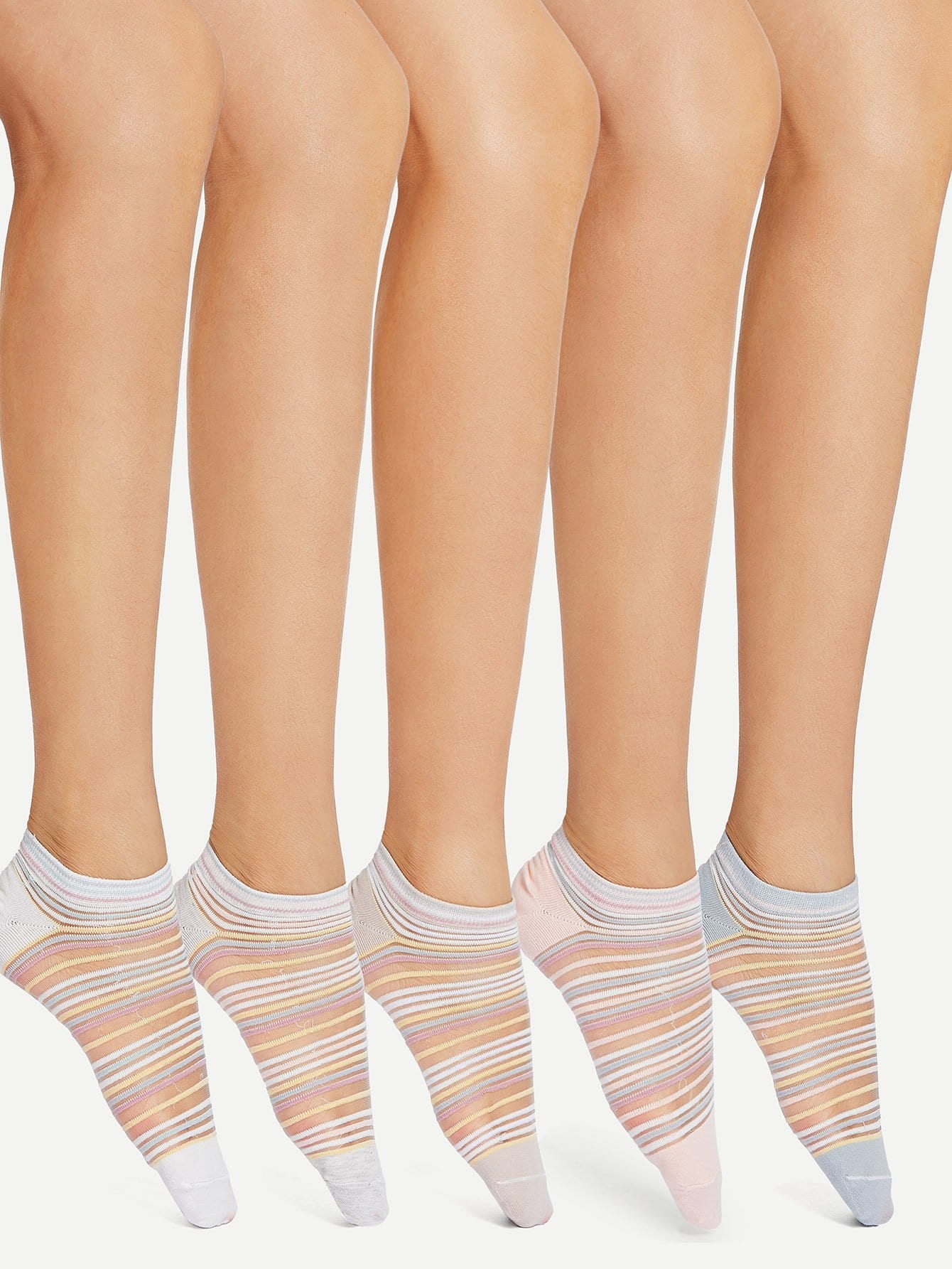 Striped Mesh Panel Socks 5pairs