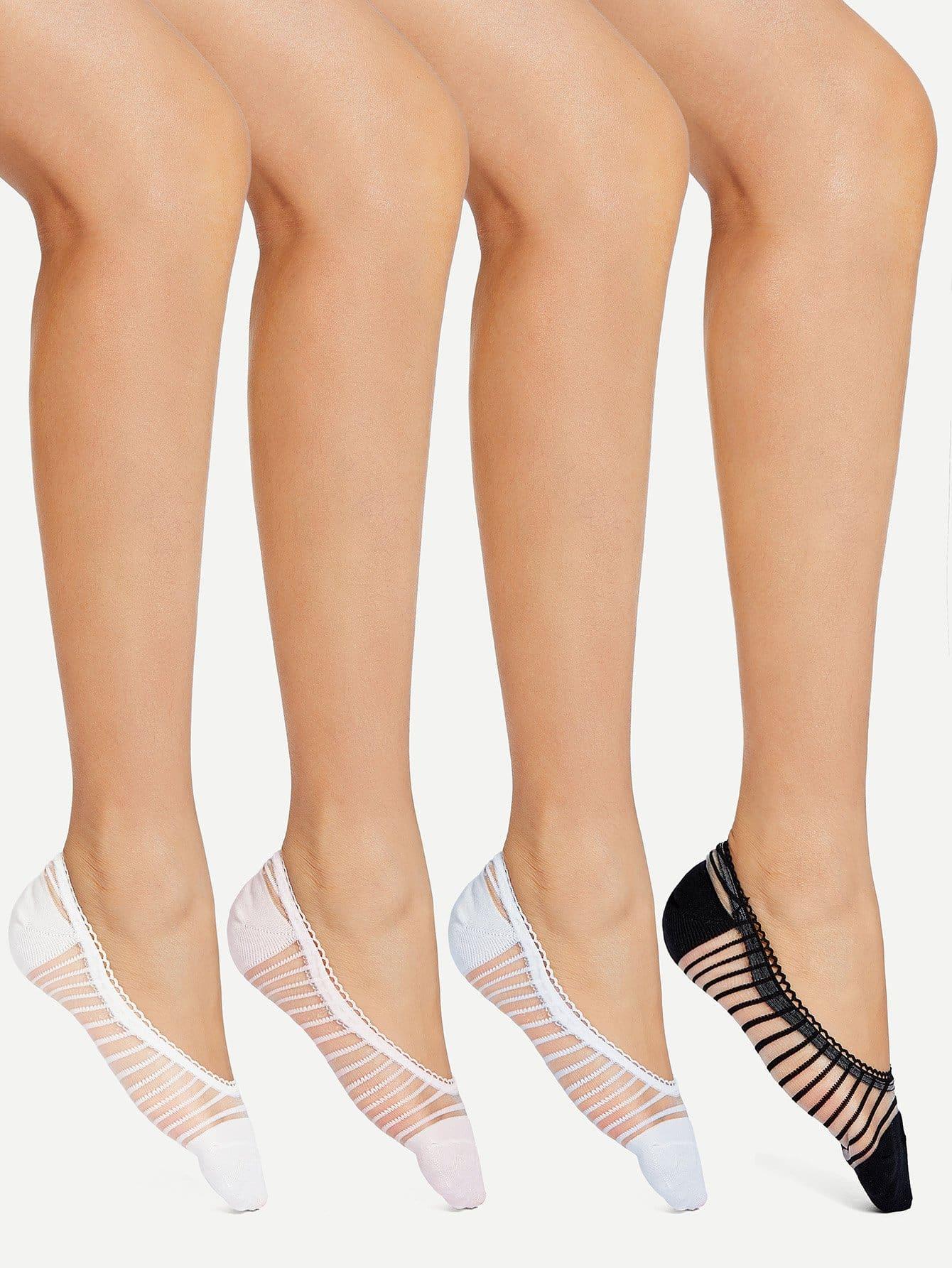 Striped Mesh Panel Socks 4pairs