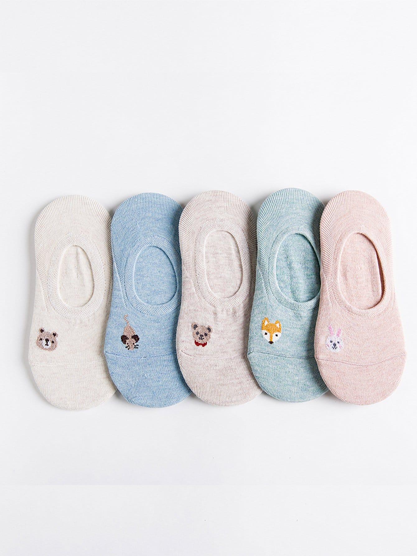 Animal Print unsichtbare Socken 5pairs