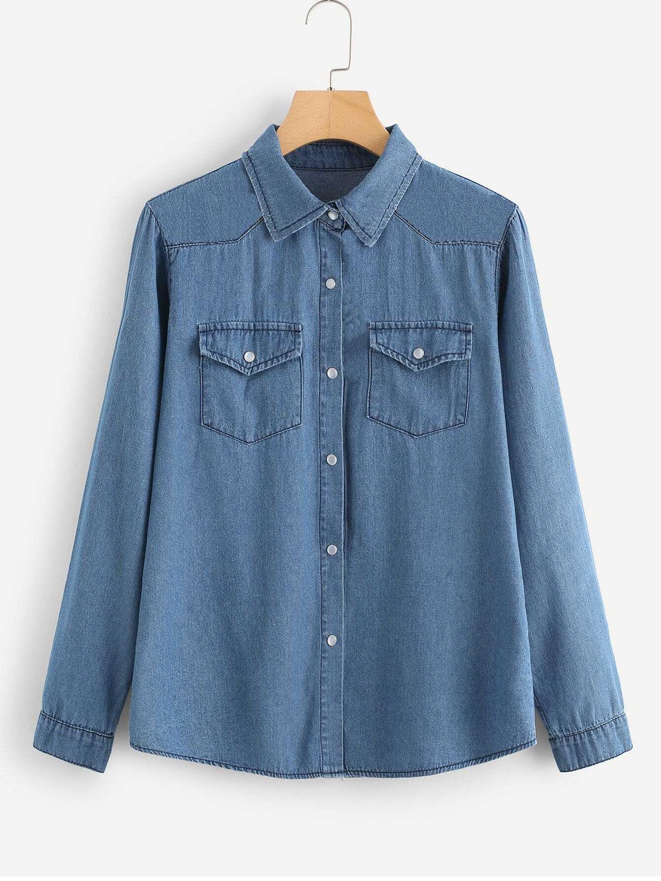 Купить Простая джинсовая блузка и с украшением пуговицы перед одежды, null, SheIn