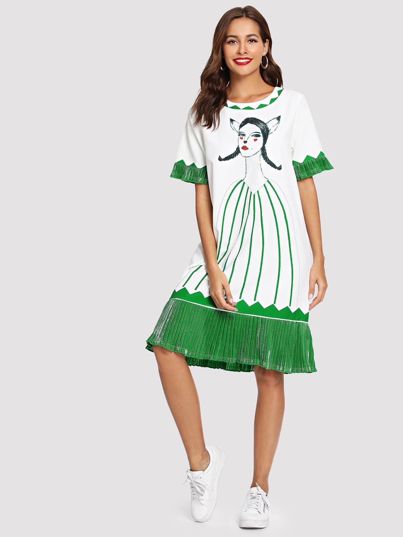 Купить Плиссированное платье и с рисунками цифры, Giulia, SheIn
