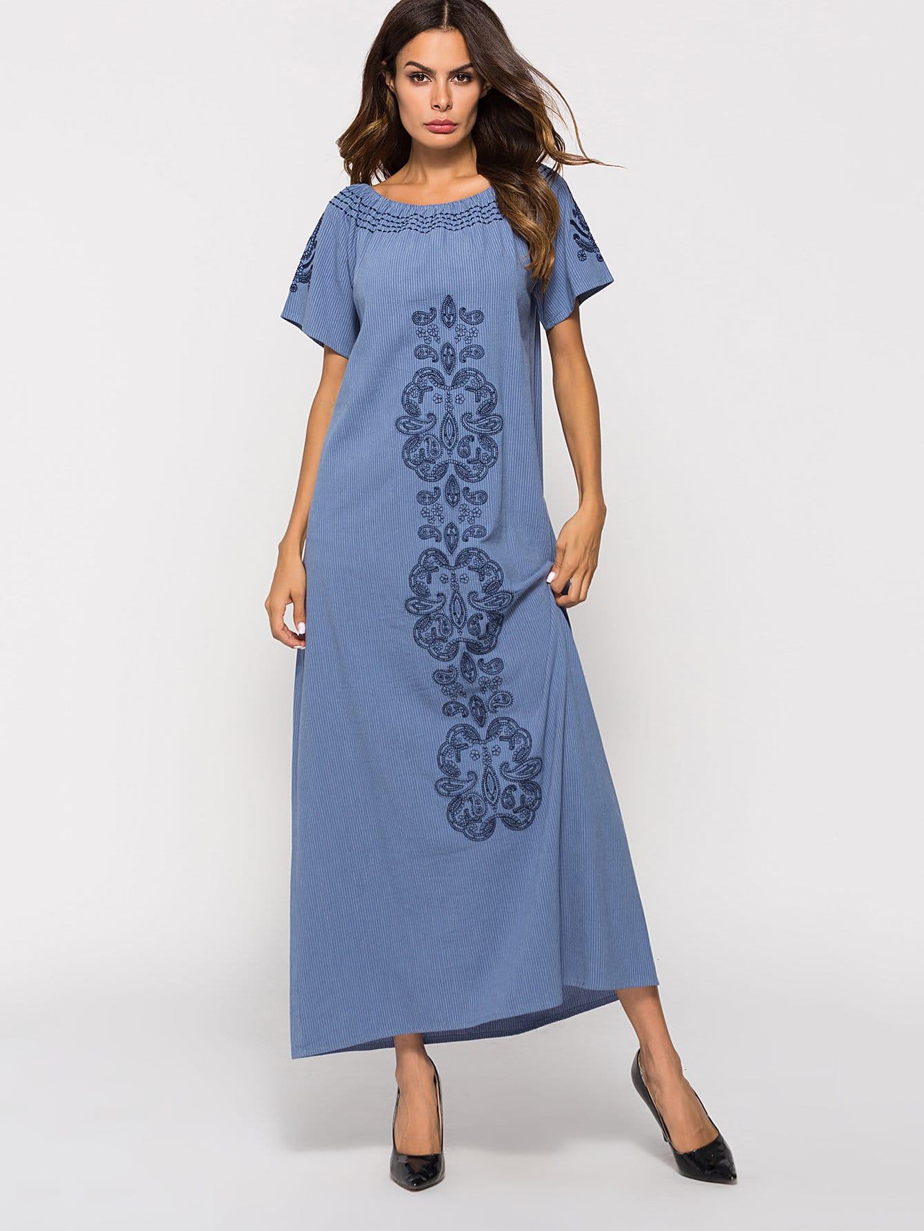 Купить Длинное платье без бретелек и с рисунками вышитыми, null, SheIn