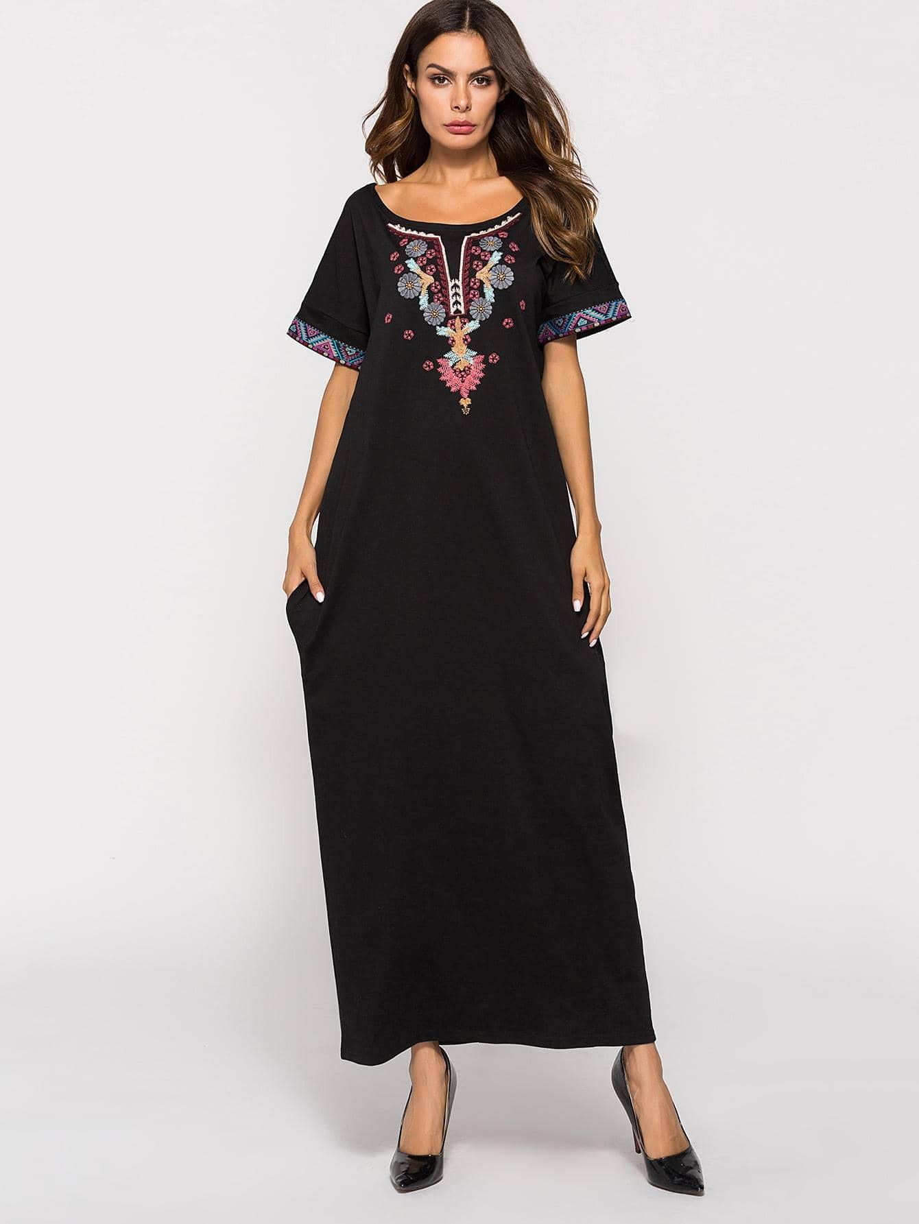 Купить Длинное платье с рисунками вышитыми, null, SheIn