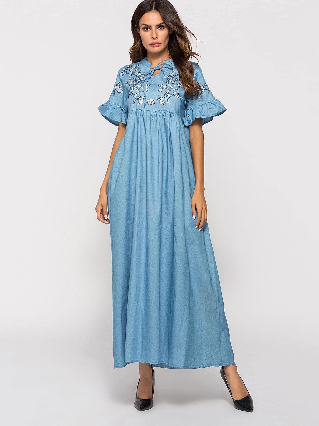 Купить Платье с рисунками вышитых цветов и рукава с розеткой, null, SheIn