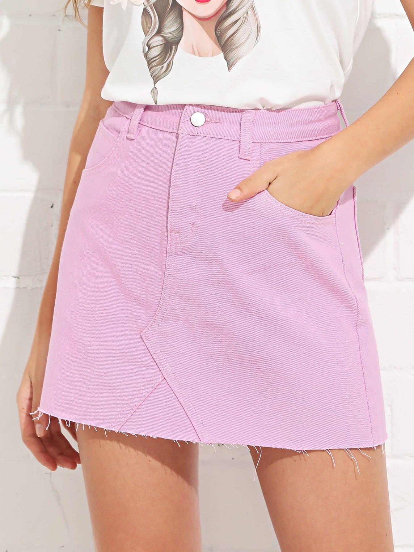 Купить Простая джинсовая юбка и рольный подол, Luiza, SheIn