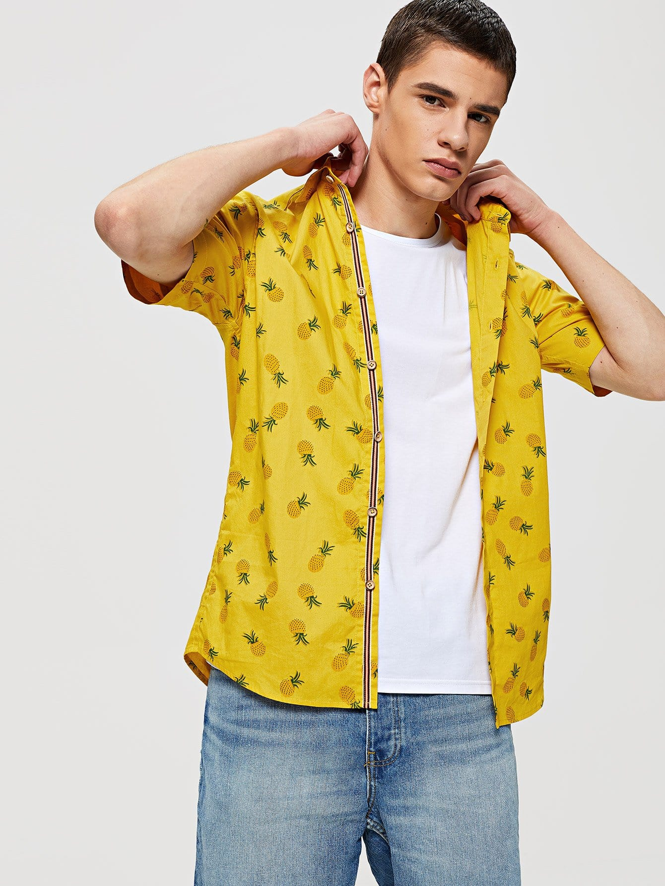 Купить Мужская Allover Pineapple Shirt, Bono, SheIn