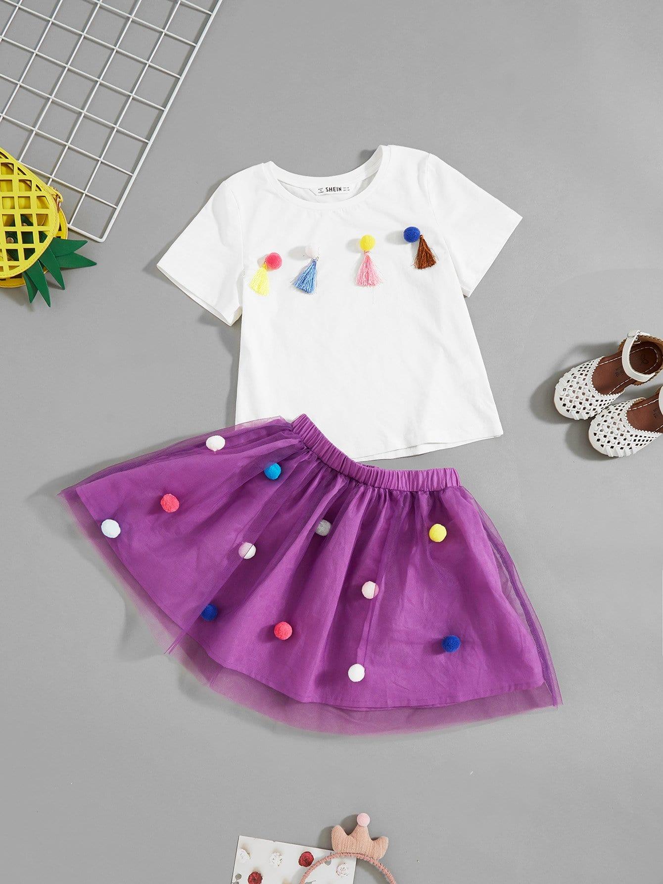 Купить Девушки Pom Pom с кисточкой Подробнее Top & Skirt Set, null, SheIn