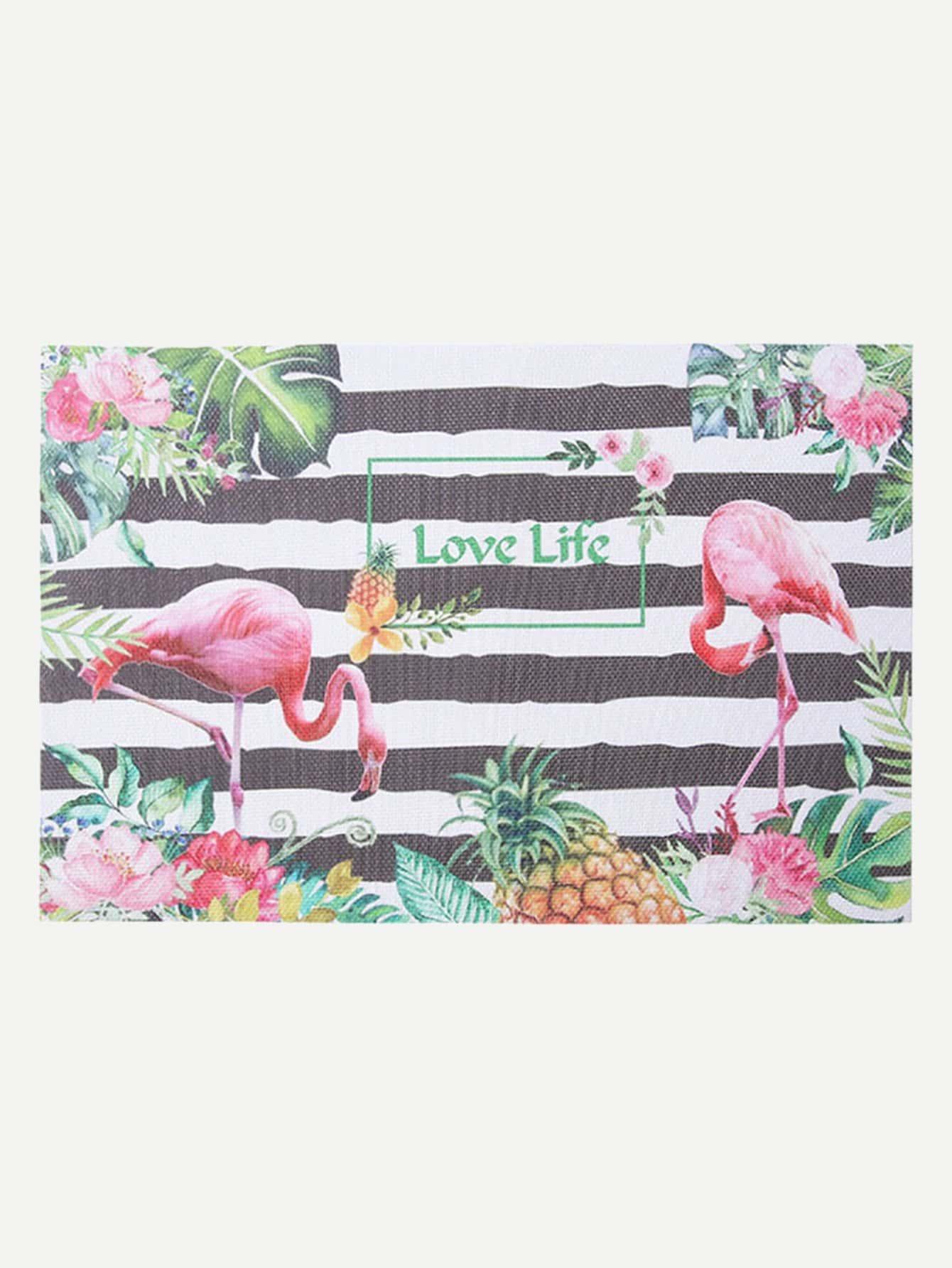 Flamingo & Striped Pattern Placemat