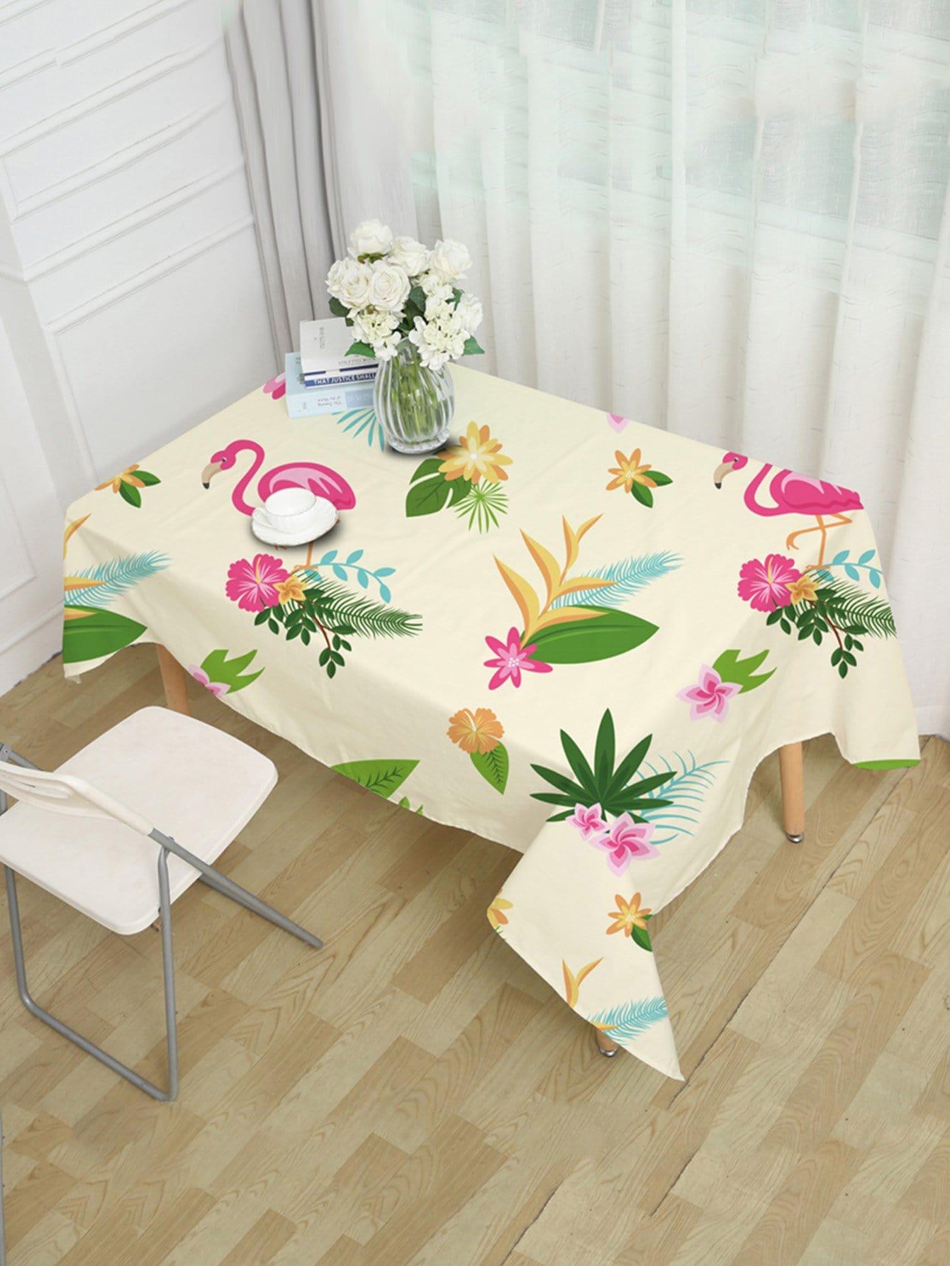 Скатерть с рисунками фламинго и тропических листьев