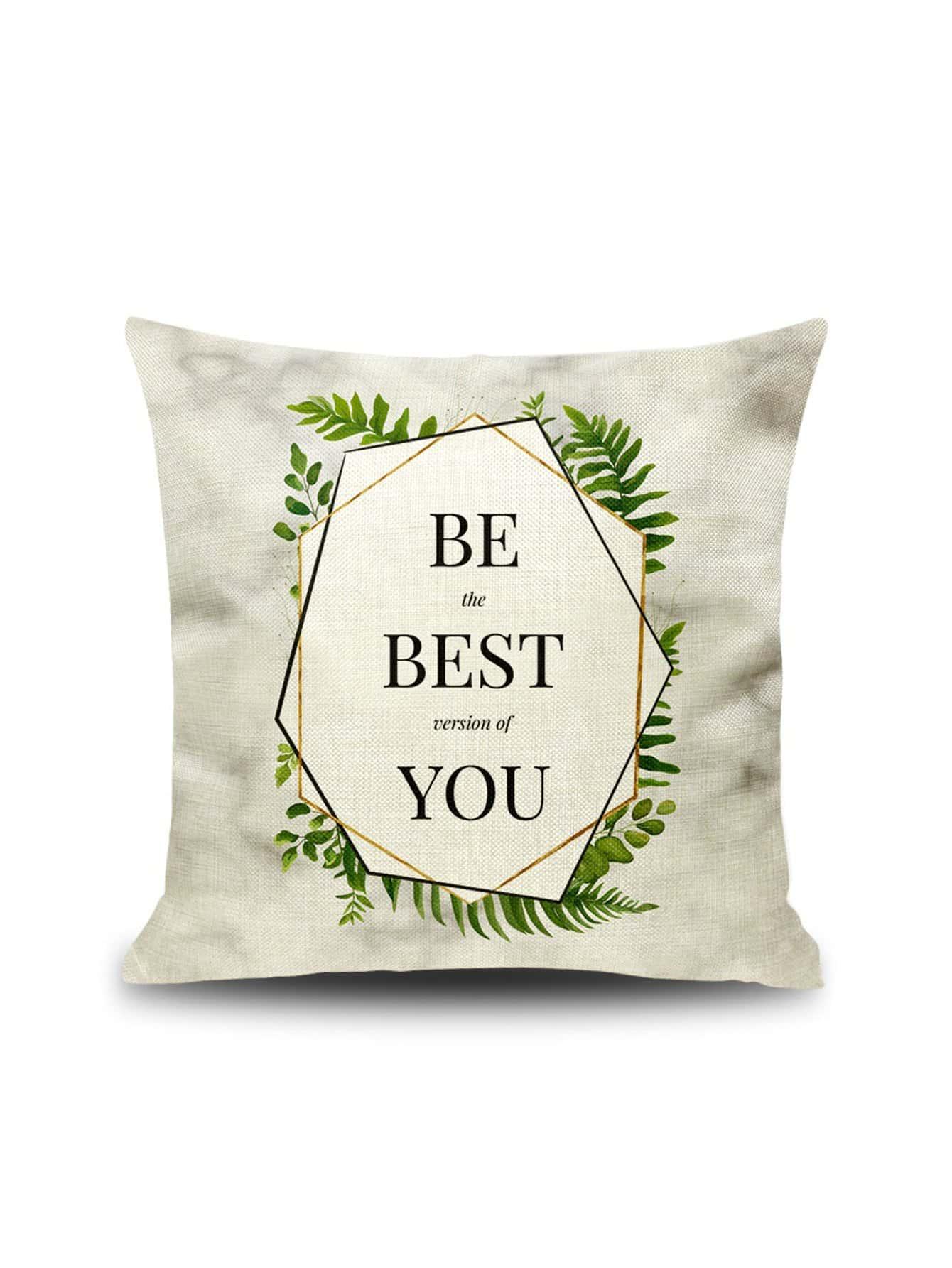 Купить Наволочка с рисунками растений и буквы 1 шт, null, SheIn